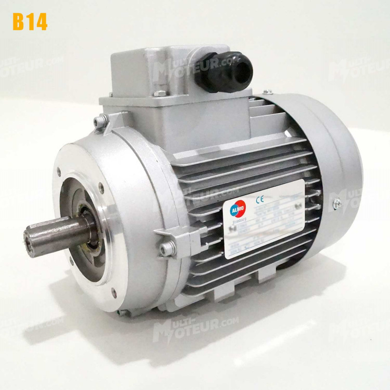 Moteur electrique 0,37 kW 3000 tr/min 230/400V triphasé ALMO MH1 carcasse réduite - Bride B14
