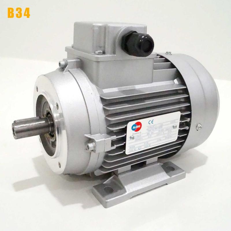 Moteur electrique 0,25 kW 1500 tr/min 230/400V triphasé ALMO MH1 - Bride B34